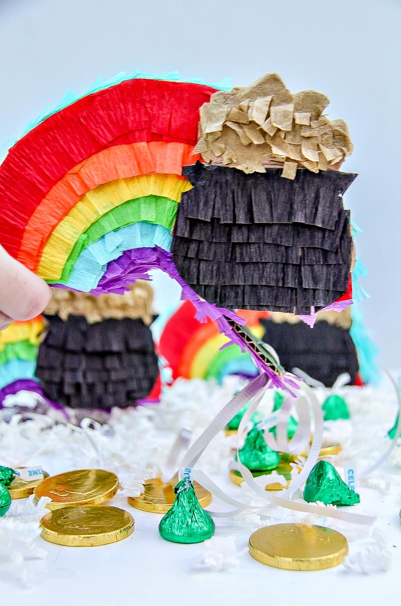 DIY St. Patrick's Day Mini Rainbow Pinatas