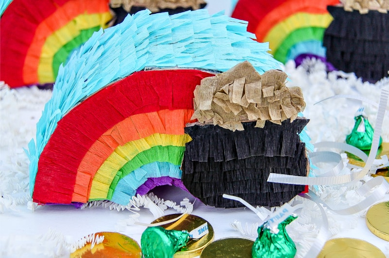 DIY St. Patrick's Day Mini Rainbow Piñatas
