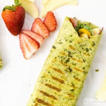 Grilled Chicken Wrap with Spinach, Strawberries and Walnuts