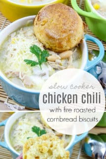 Slow Cooker Chicken Chili with Fire Roasted Cornbread Biscuits Recipe #chickenchili #chilirecipe