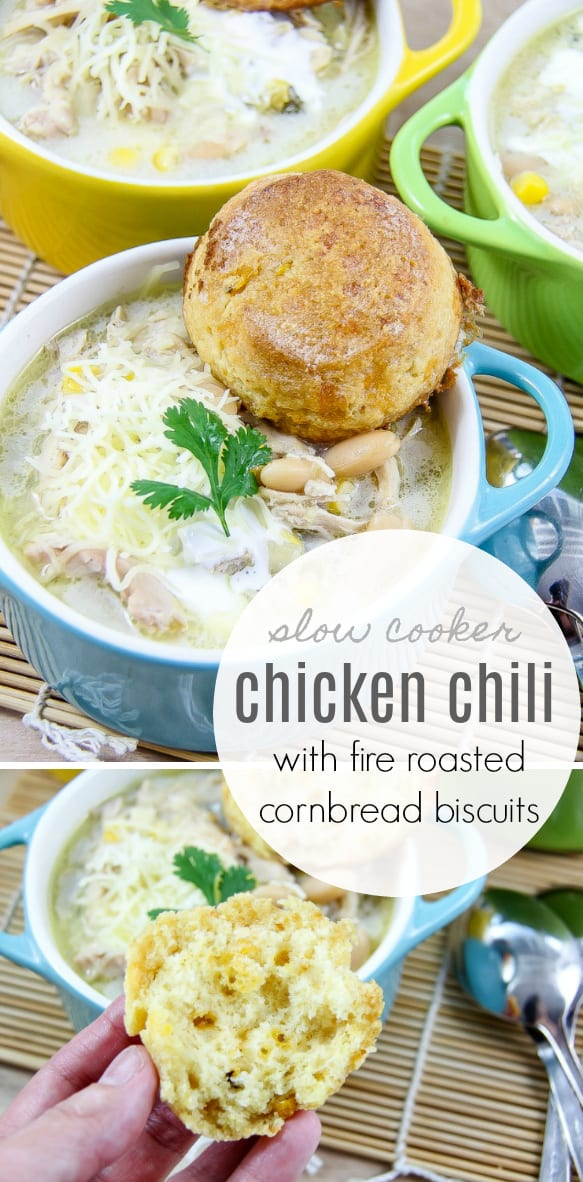 Slow Cooker Chicken Chili With Fire Roasted Cornbread Biscuits