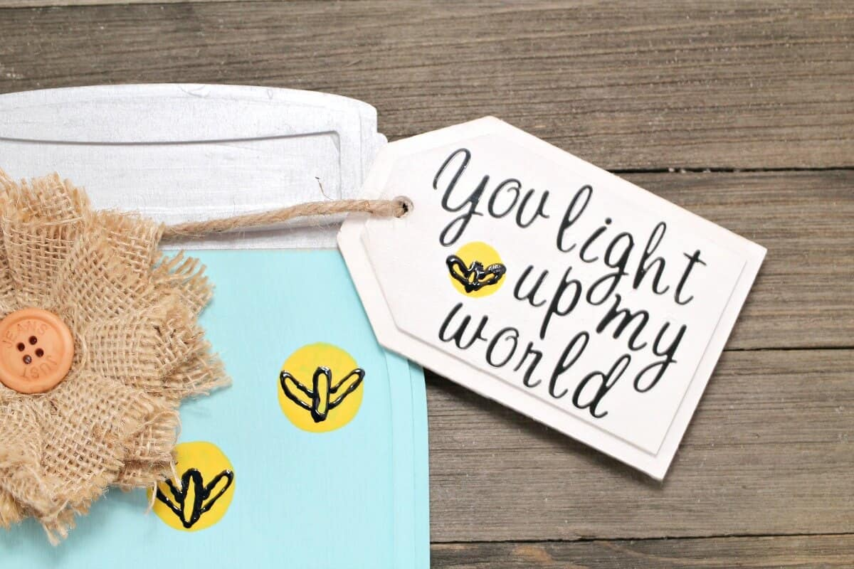 Wooden Mason Jar Craft - Handmade Card - You Light Up My World