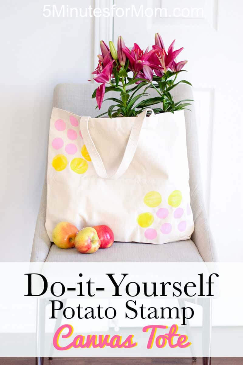 DIY Canvas Tote Bag With Potato Stamp Design - Easy Craft