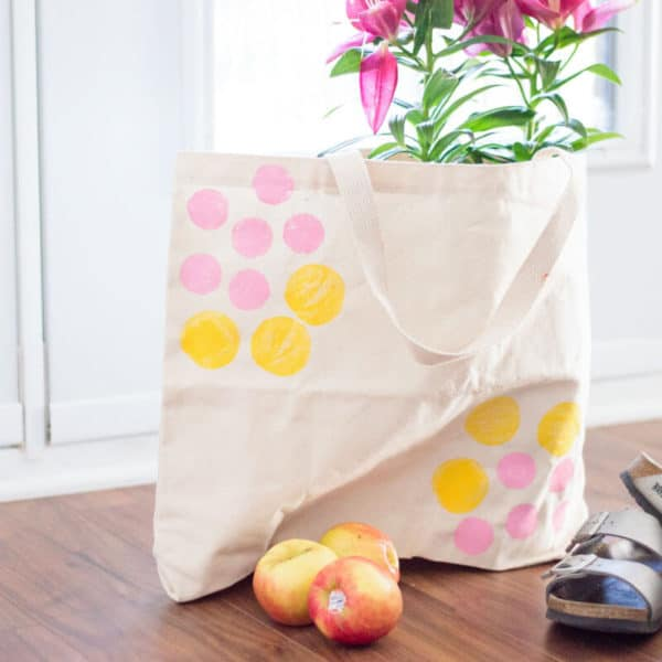 DIY Canvas Tote Bag With Potato Stamp Design
