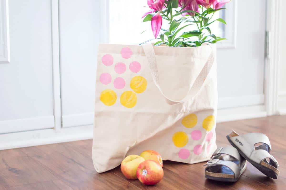 diy potato stamp canvas tote bag step by step tutorial