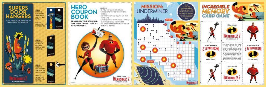 Incredibles 2 Activity Sheets