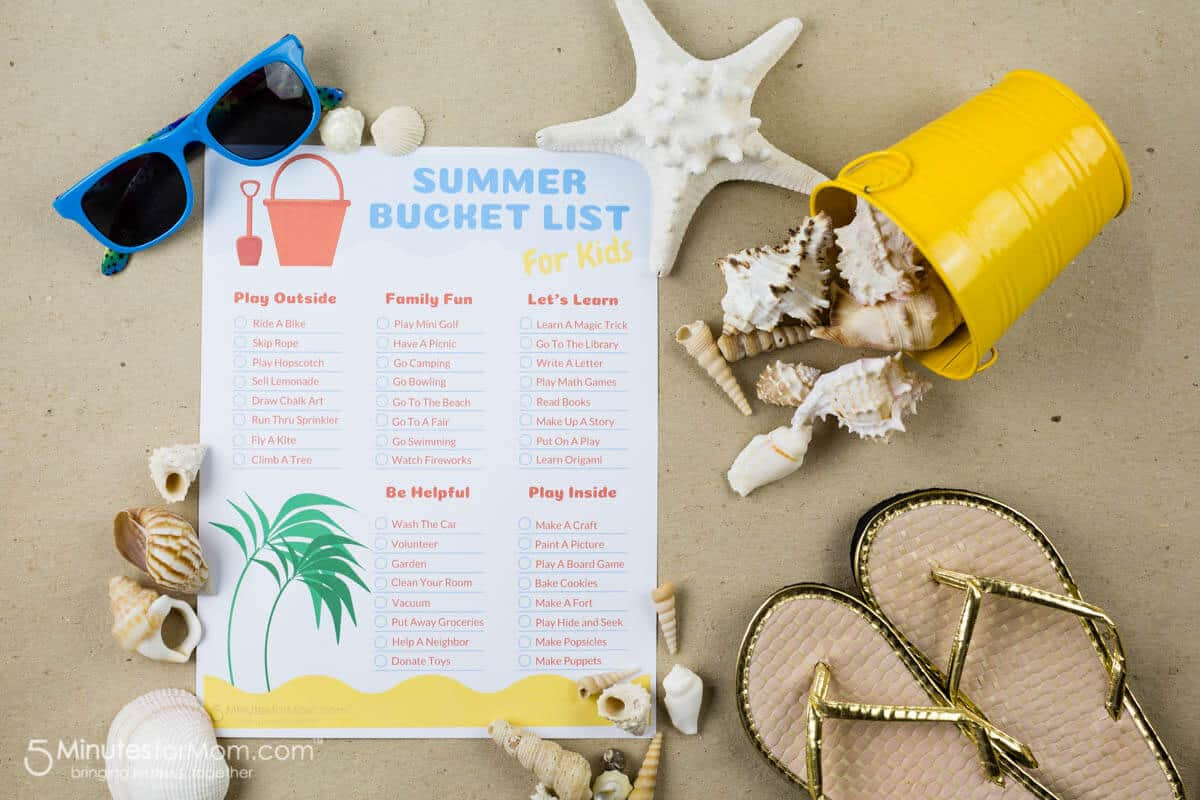 Summer Bucket List Printable For Kids