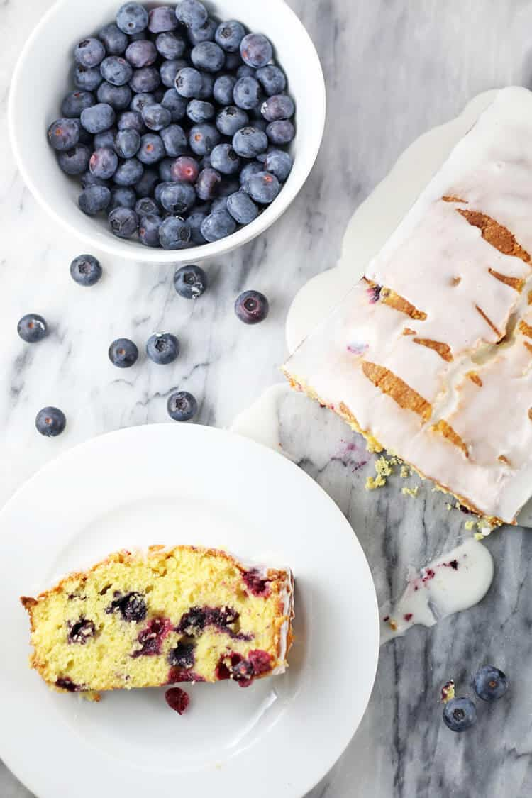 Blueberry Lemon Loaf Cake from Rose Bakes