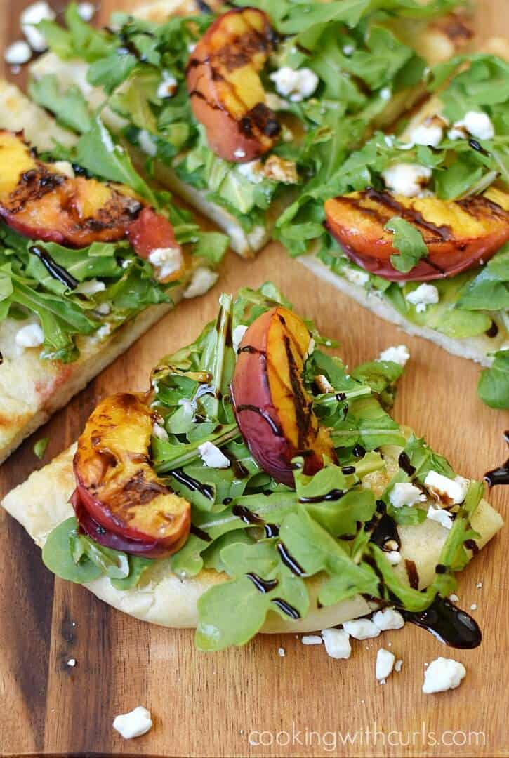 Grilled Peach and Arugula Pizza