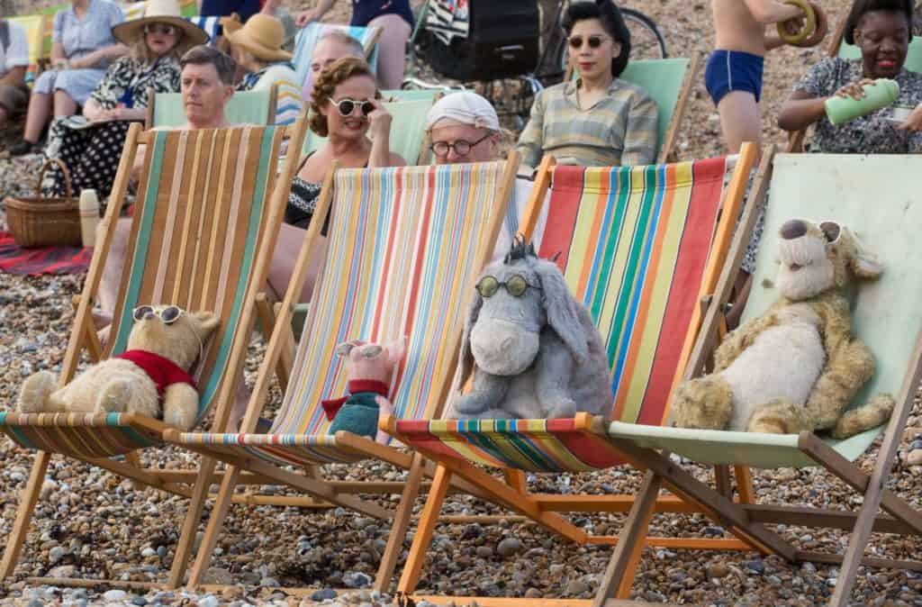 Winnie the Pooh, Eeyore, Piglet, Tigger at the beach