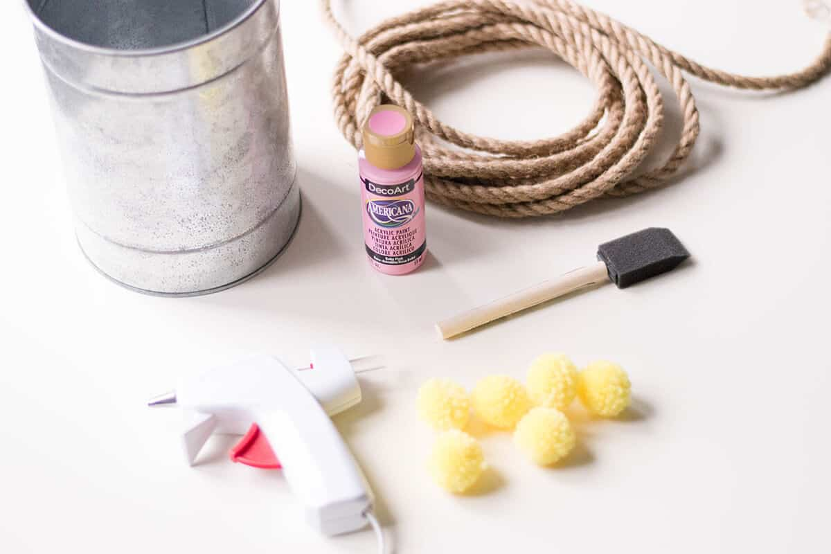 Supplies for a Rope Vase DIY