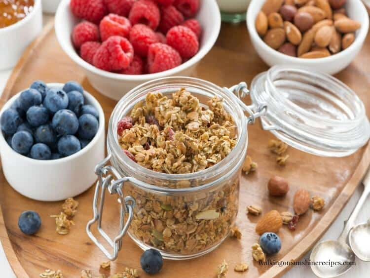 Homemade Stove Top Granola with fruit and nuts