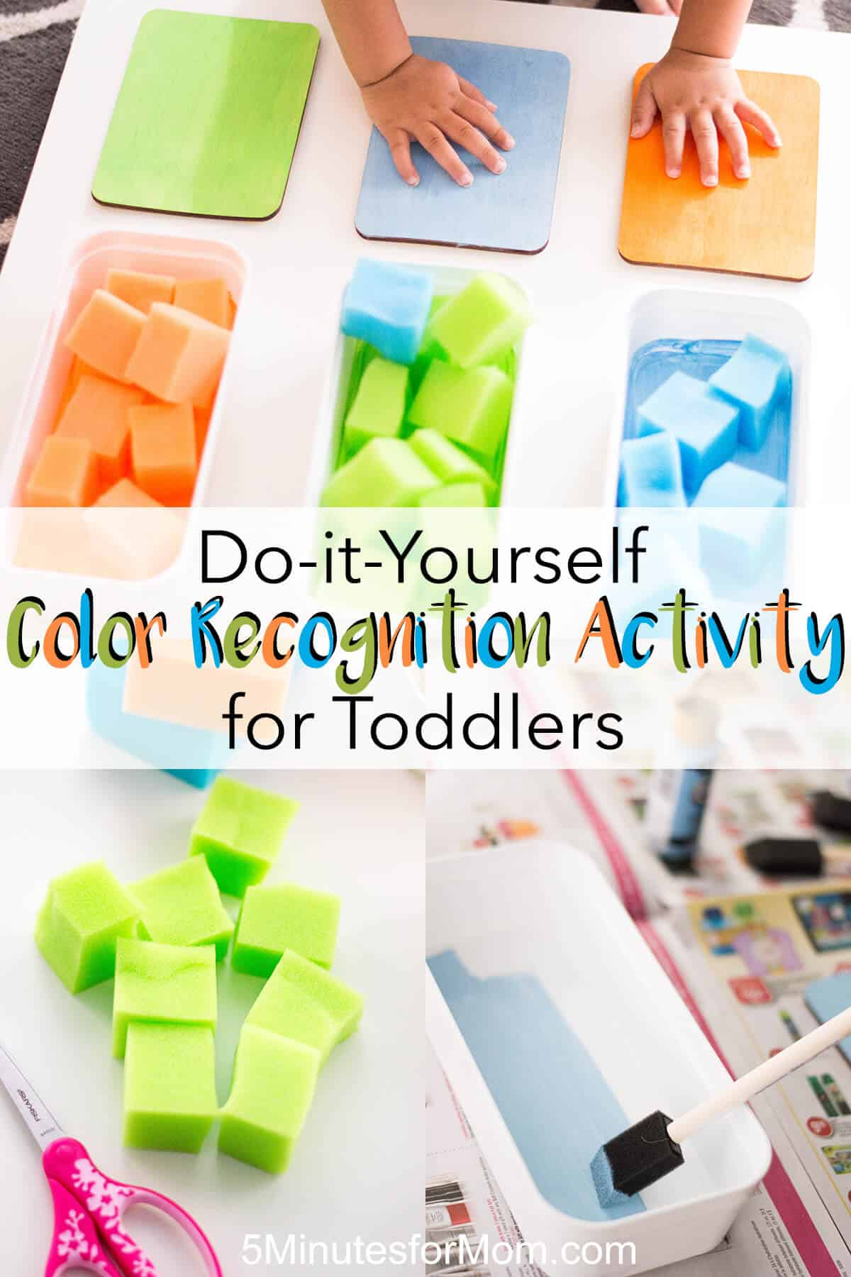 DIY color recognition activity for toddlers - A toddler activity to encourage color recognition and sorting