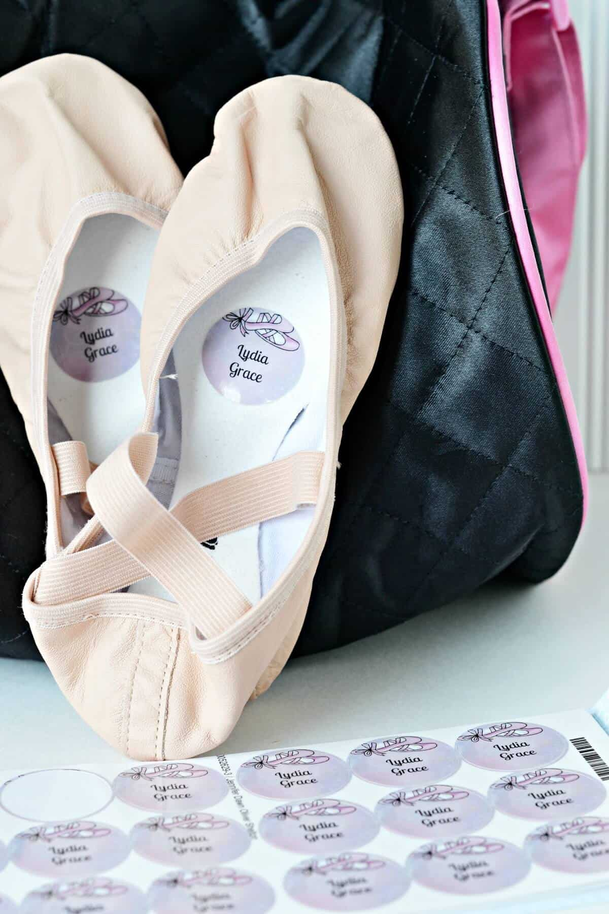 labeled ballet slippers