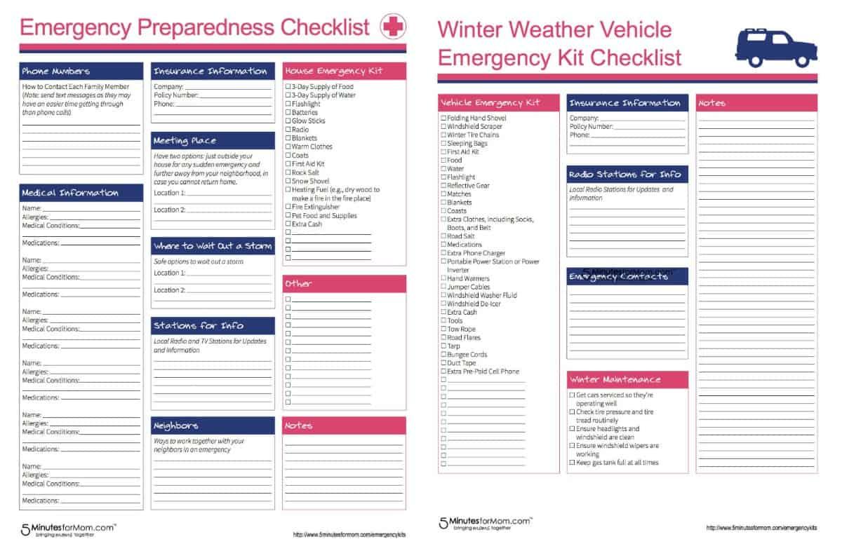 Emergency Preparedness Checklist Free Printable
