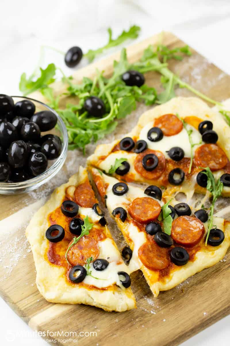 Making Grilled Pizza with Hojiblanca Olives from Spain and Spanish Chorizo Sausage