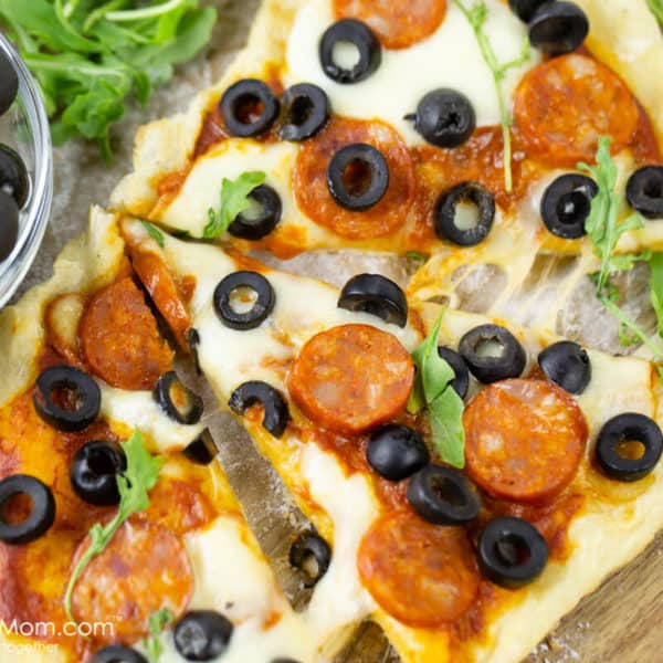 Grilled Pizza with Hojiblanca Olives from Spain and Spanish Chorizo Sausage