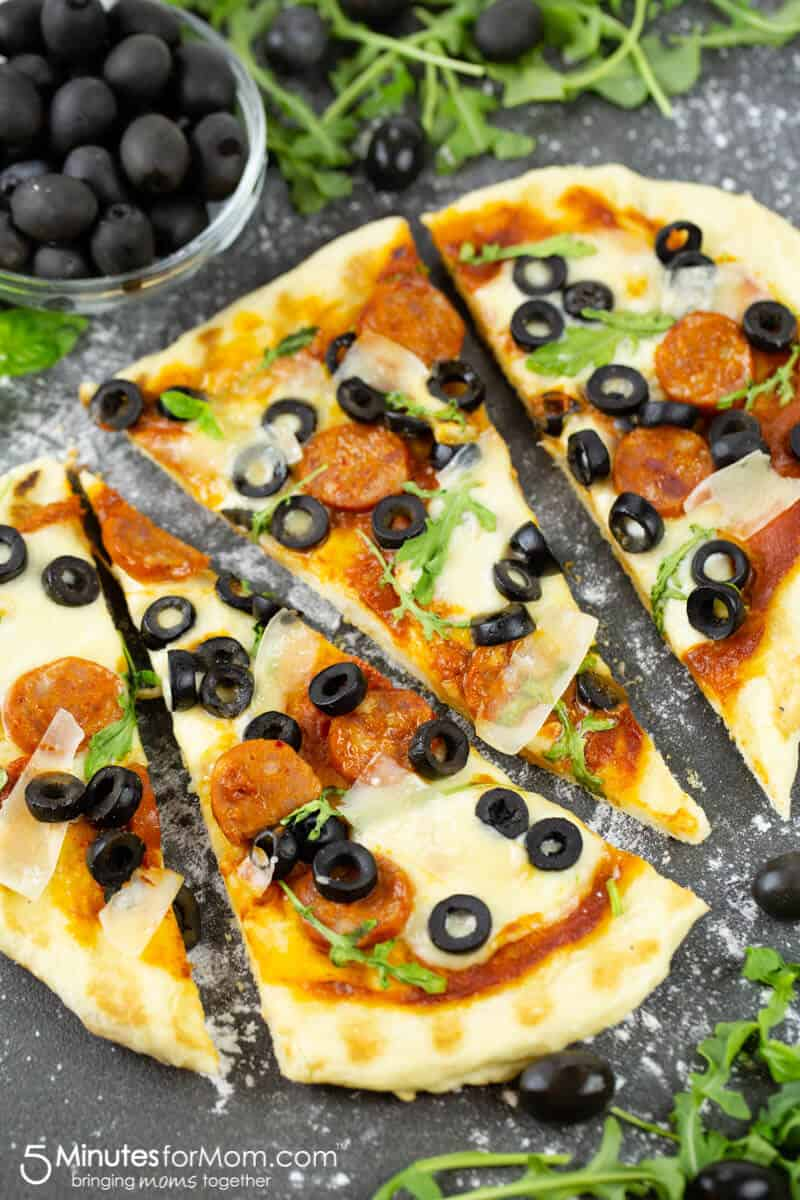 Recipe for Grilled Pizza with Hojiblanca Olives from Spain and Spanish Chorizo Sausage