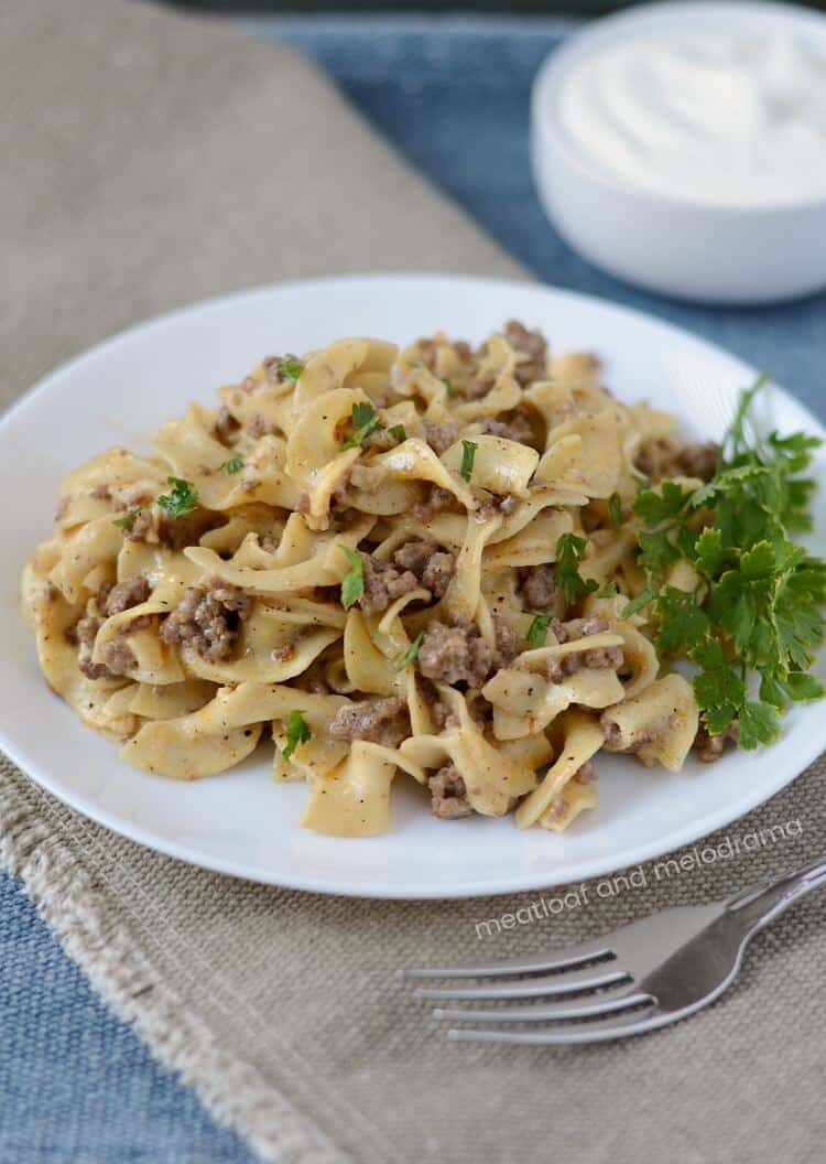 Ground Beef Stroganoff from Meatloaf and Melodrama
