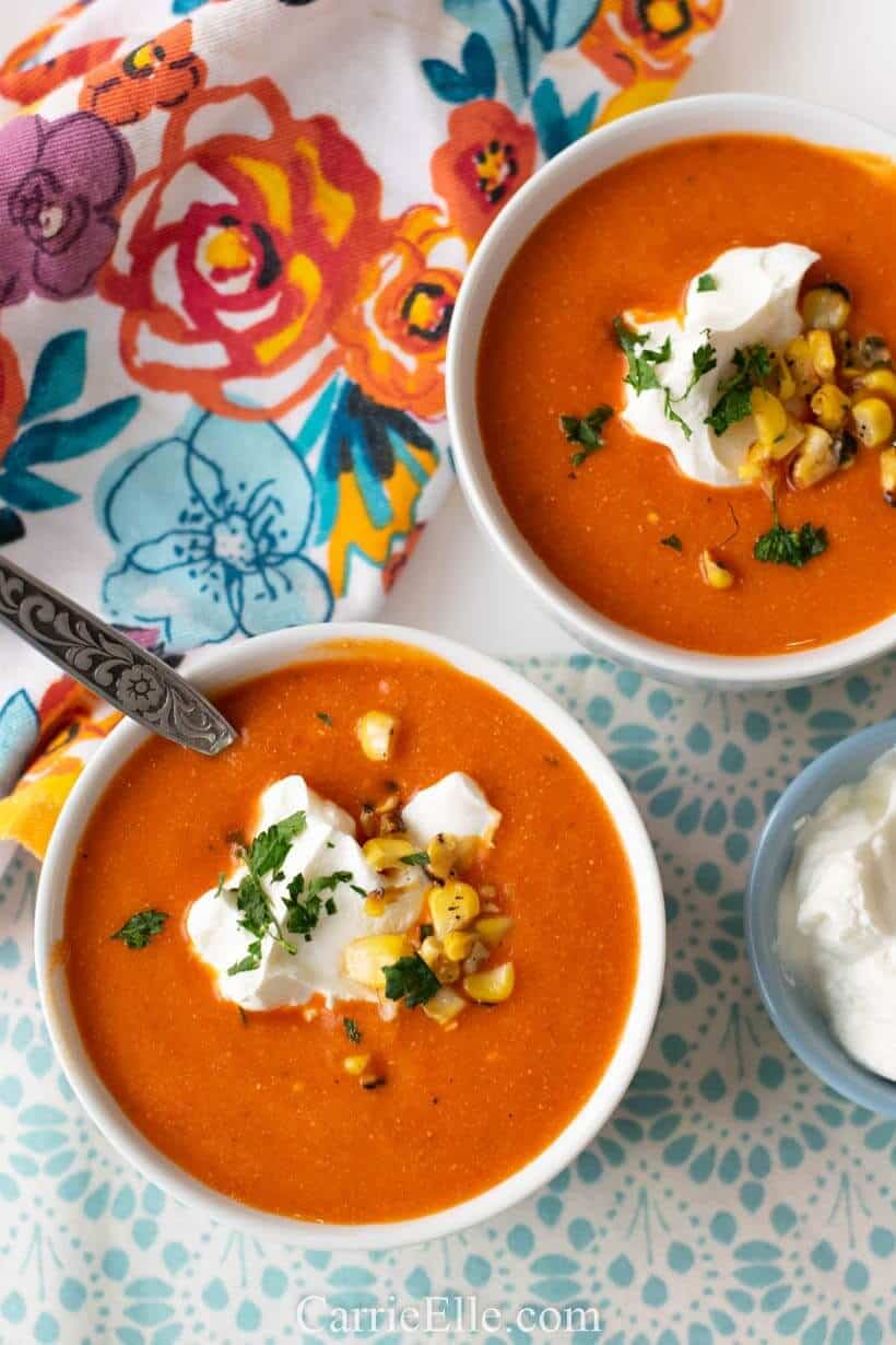 Roasted Red Bell Pepper Soup from Carrie Elle