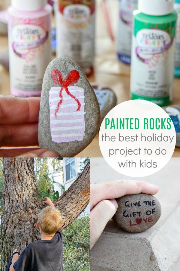 Looking for an easy holiday craft? See how to paint rocks with holiday pictures and inspirational messages to hide around your neighborhood. Sponsored by Testors. #paintedrocks #paintedrockideas