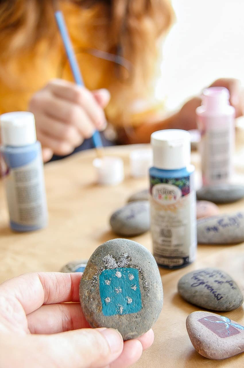 Painting rocks for the holidays