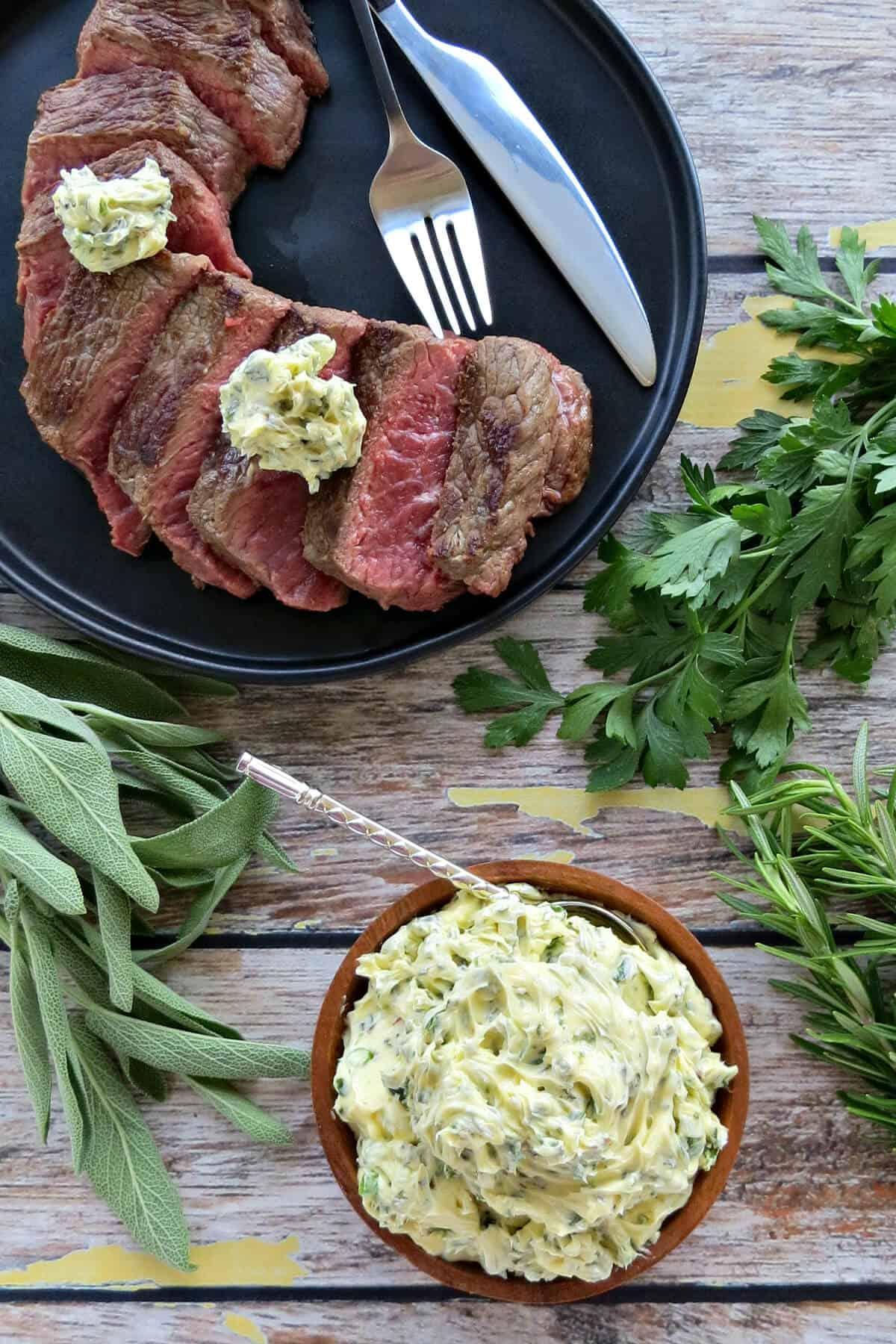 Easy Herb Butter on Grilled Steak