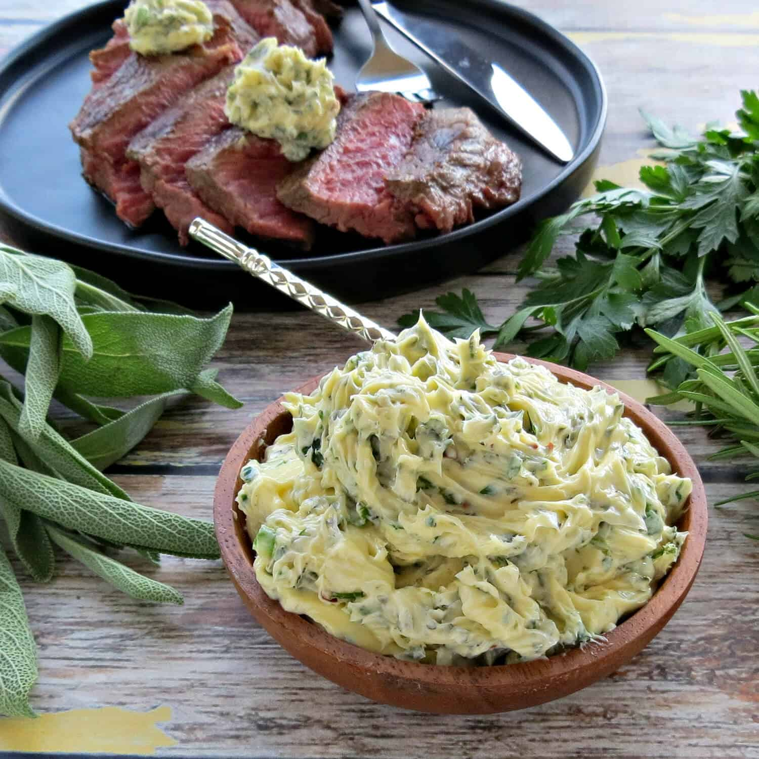 Easy Herb Butter with Steak
