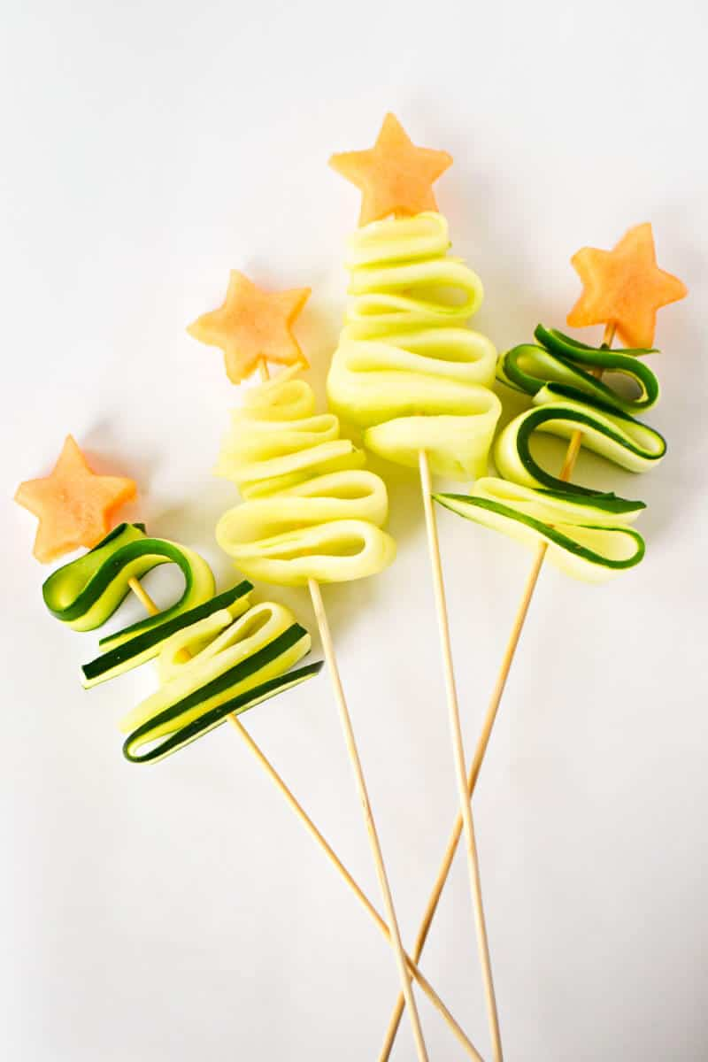 Healthy Christmas Snacks for Kids - cucumber trees with star toppers