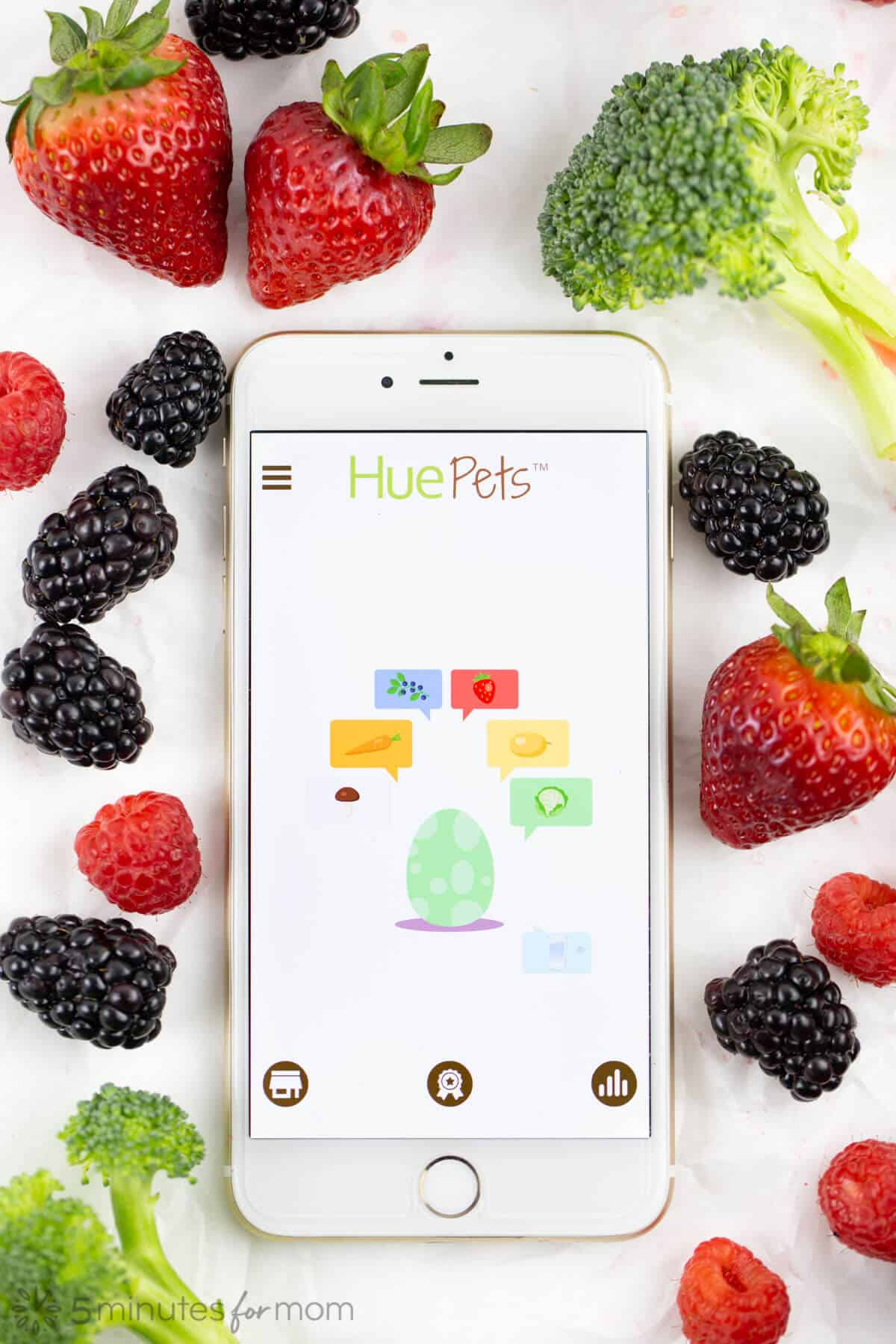 HuePets App with Fruits and Veggies