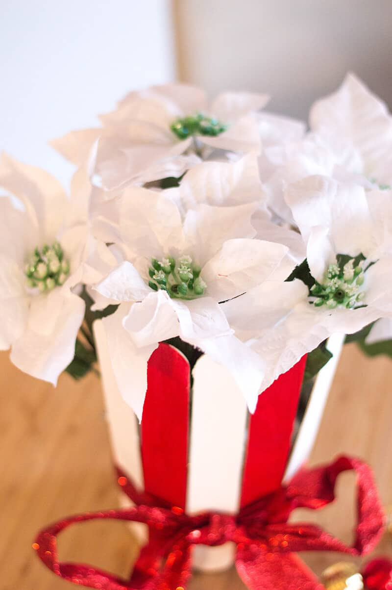 The simplest DIY you'll ever conquer: here's how to make the cutest red & white easy Christmas centerpiece.