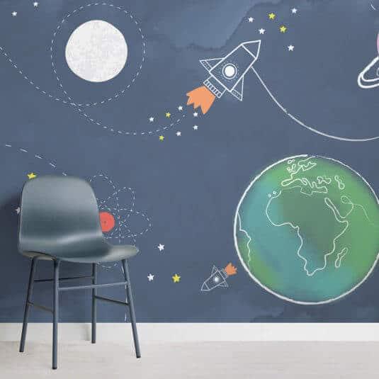 space scene nursery room mural