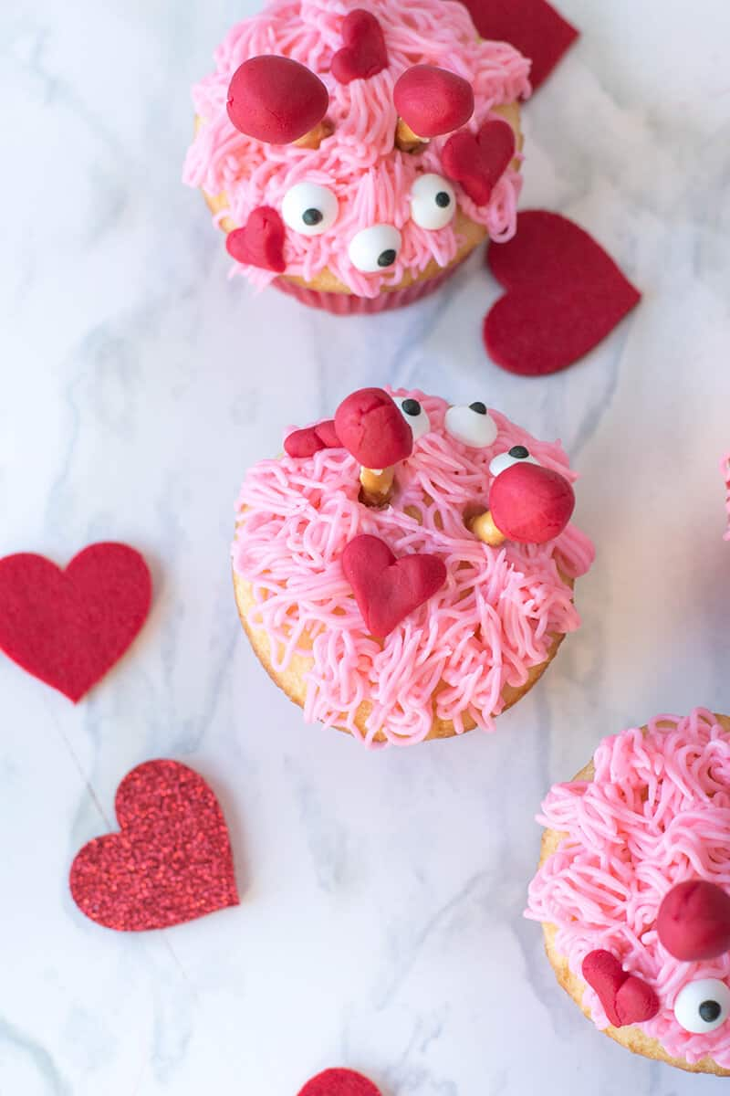 Pink, sweet, and loving monsters - here's our take on Valentine cupcakes!