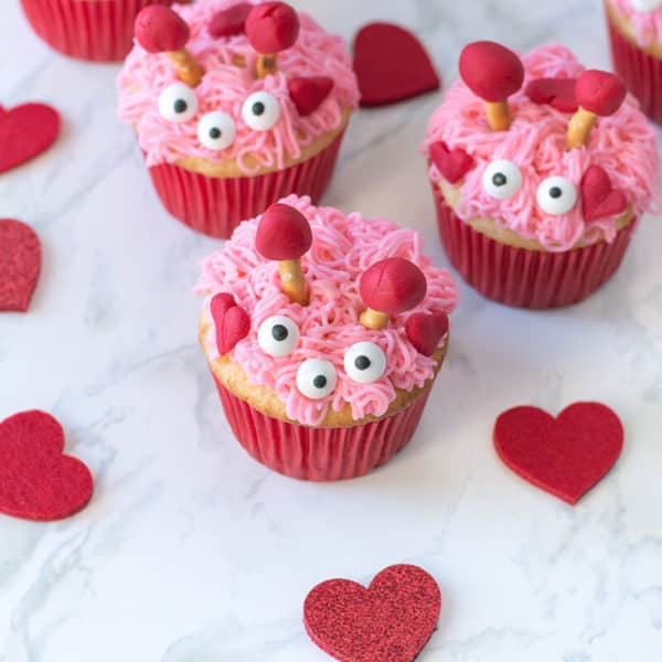 Furry Monster Valentine Cupcakes