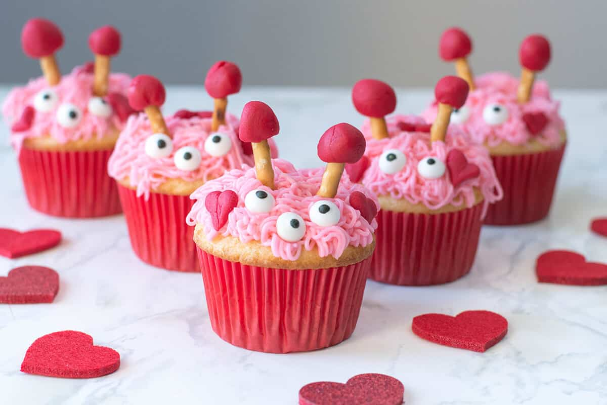 Furry Monster Valentine Cupcakes - Pink, sweet, and loving monsters - here's our take on Valentine cupcakes!