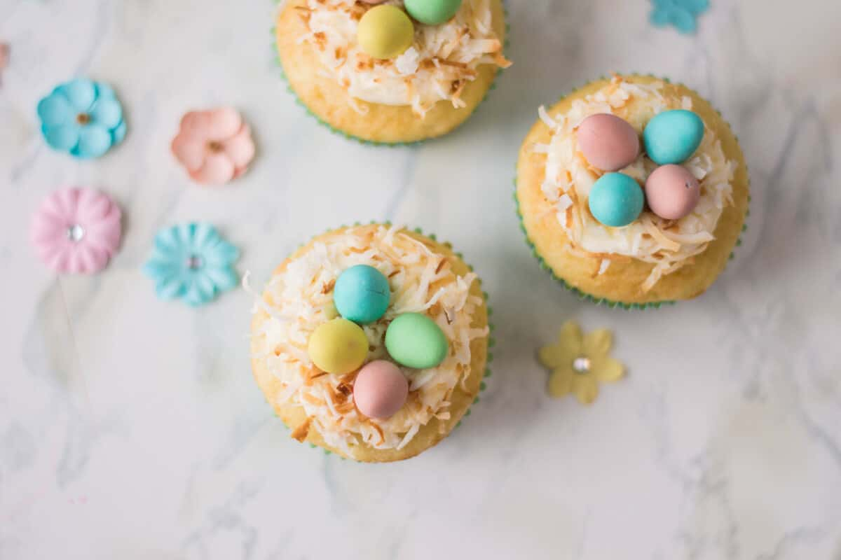 Bird's Nest Cupcakes - Vanilla cupcakes topped with buttercream, shredded coconut and candied eggs.
