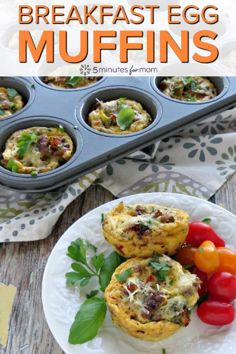 Breakfast Egg Muffins - Loaded with Sausage and Veggies - Easy to make high protein breakfast #eggmuffins #breakfastmuffins