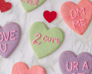Conversation Heart Cookies for Valentine's Day