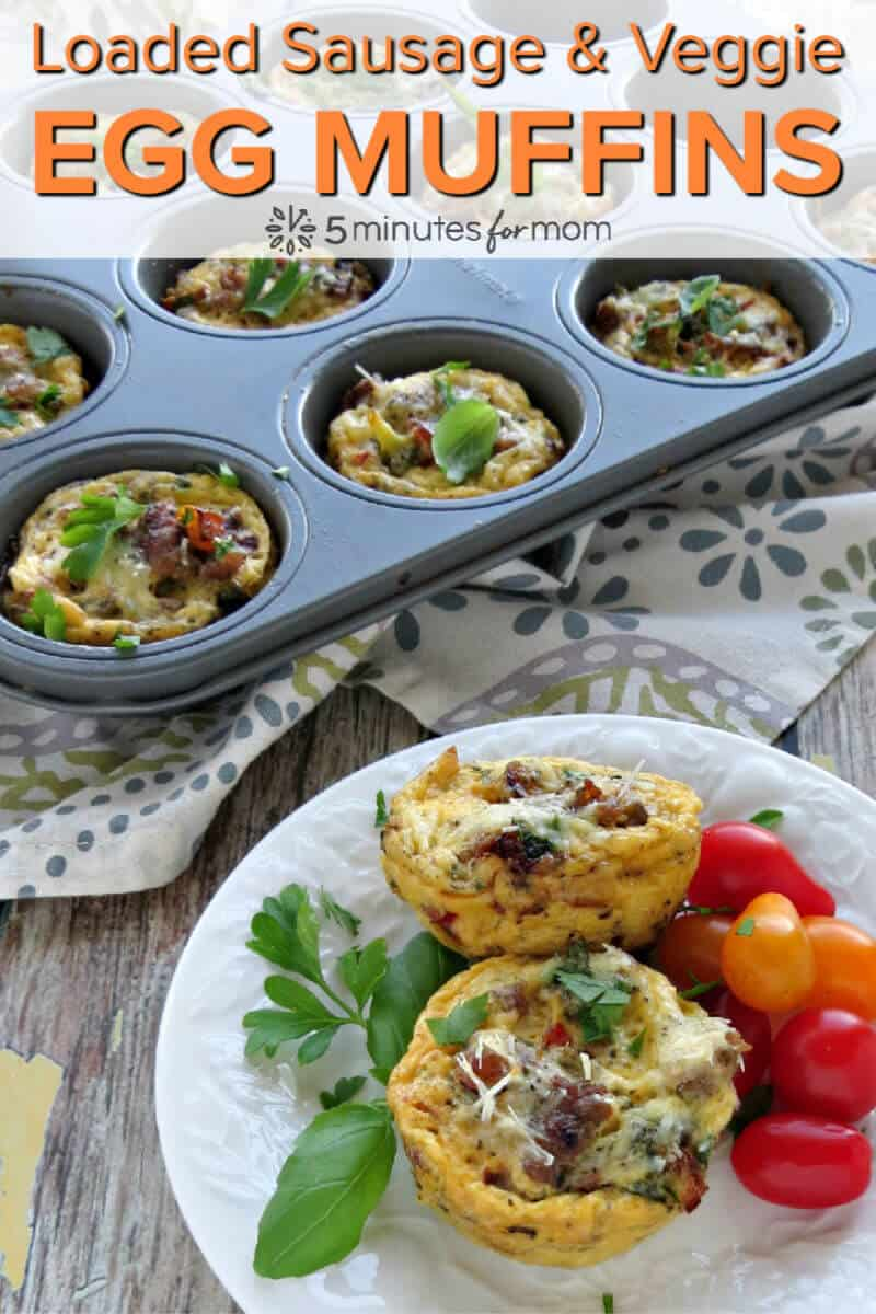 Loaded Sausage and Veggie Breakfast Egg Muffins - Easy to make breakfast muffins packed with protein #eggmuffins #breakfastmuffins