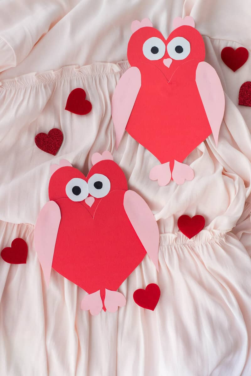 Owl Heart Shape Paper Craft - Valentine's Day Card