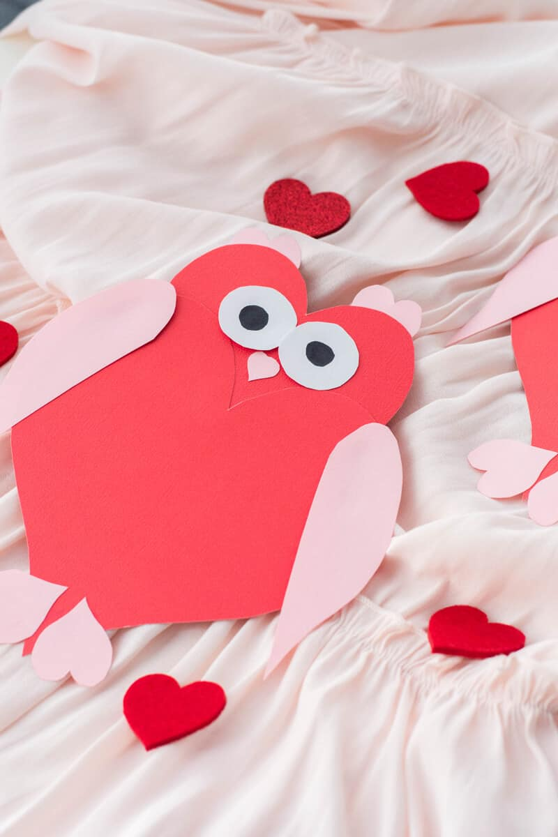 DIY Valentine's Day card made up of heart shapes.