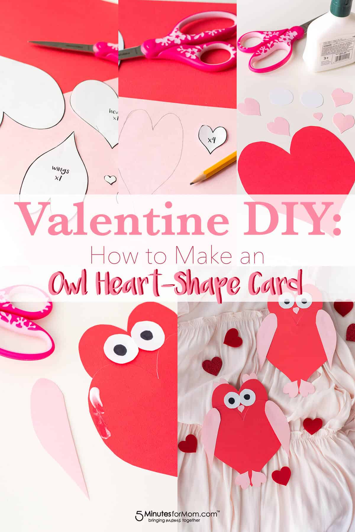 Owl Heart Shape Paper Craft - A DIY Valentine's Day card made up of heart shapes.
