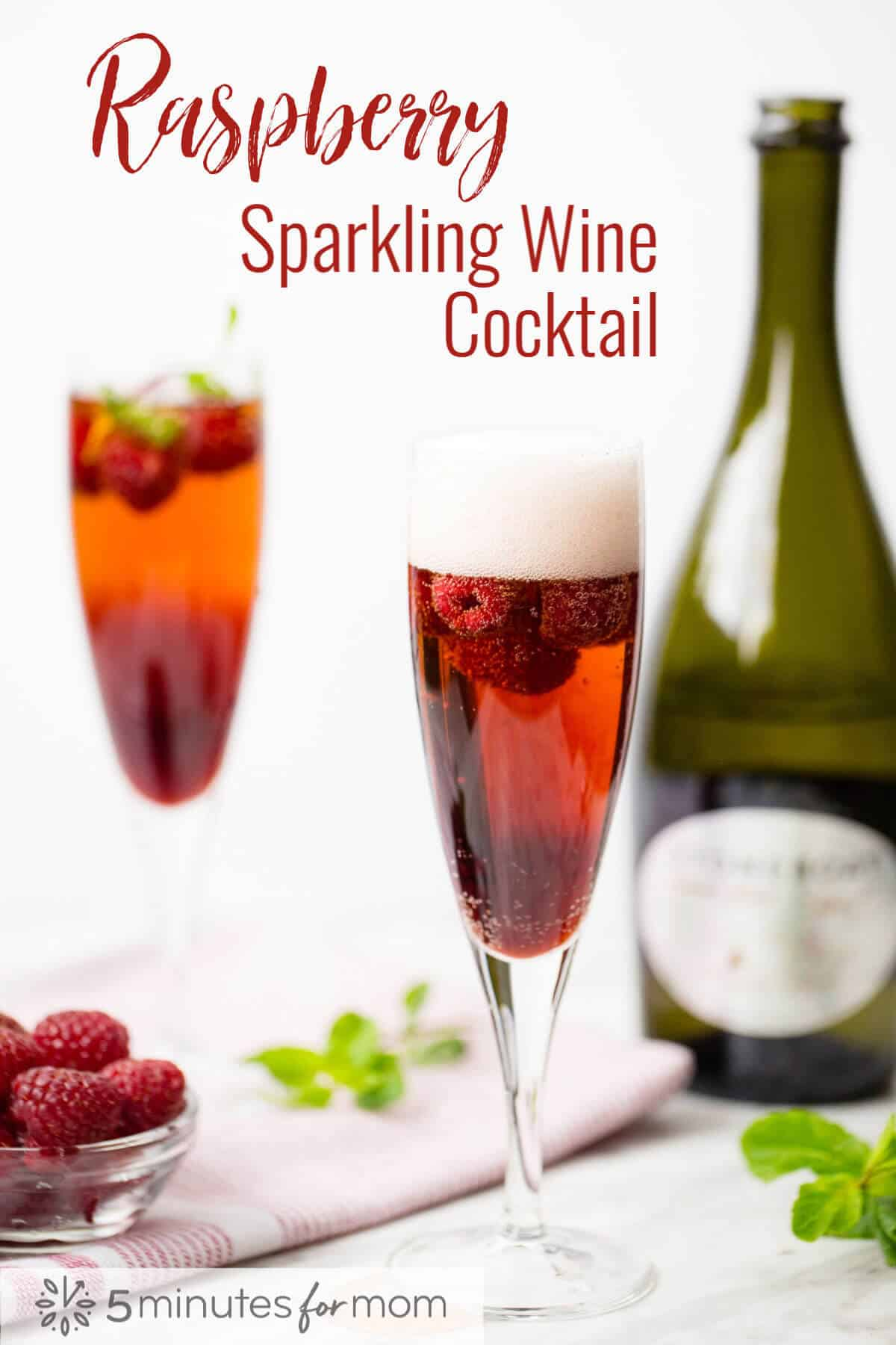 Raspberry Sparkling Wine Cocktail - How to make a delicious and stunning raspberry sparkling wine cocktail. #cocktail #sparklingwine