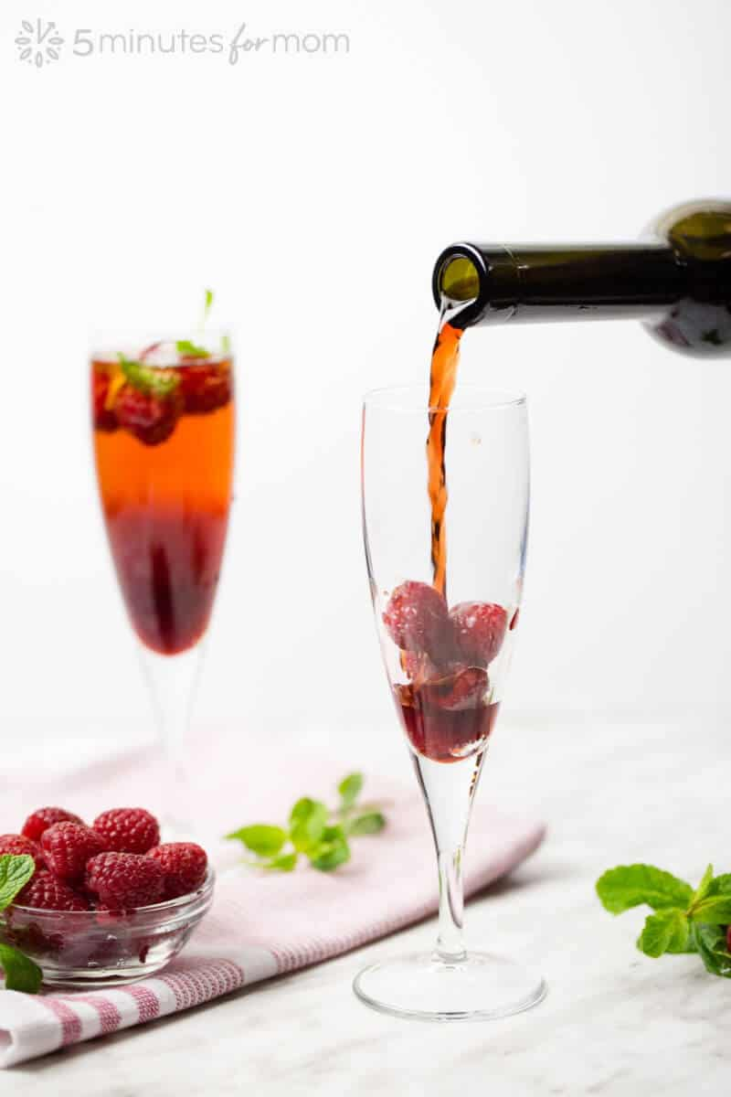 Fresh Raspberries with Raspberry Sparkling Wine Cocktail