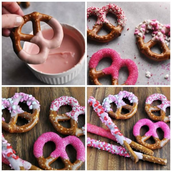 Kid Friendly Dipped and Decorated Pretzels for Valentine's Day
