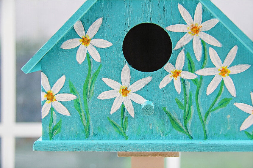 Painted birdhouses with Testors Craft Acrylic Paint