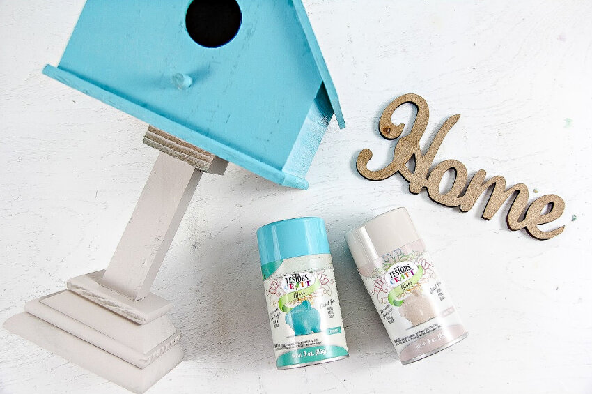 Painting a Birdhouse using Testors Craft Gloss in Smokey Beige and Turquoise