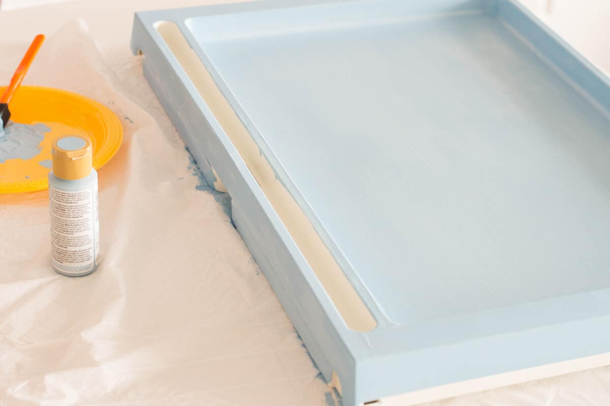 Paint a second coat to make your breakfast tray DIY
