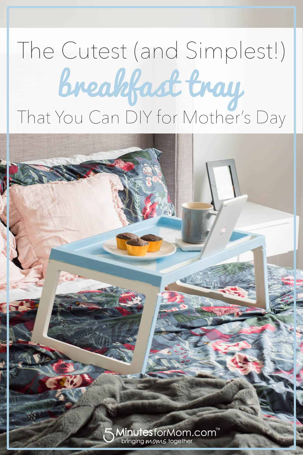 IKEA Hack Breakfast Tray DIY - Perfect Mother's Day Gift Idea - Easy way to elevate the look of an otherwise plain tray. #ikeahack #diygift #mothersdaygift