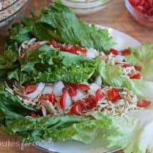 shredded chicken, on lettuce, on white plate
